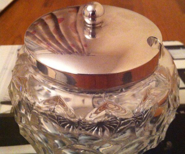 Silver jam jar glass Sheffield antique