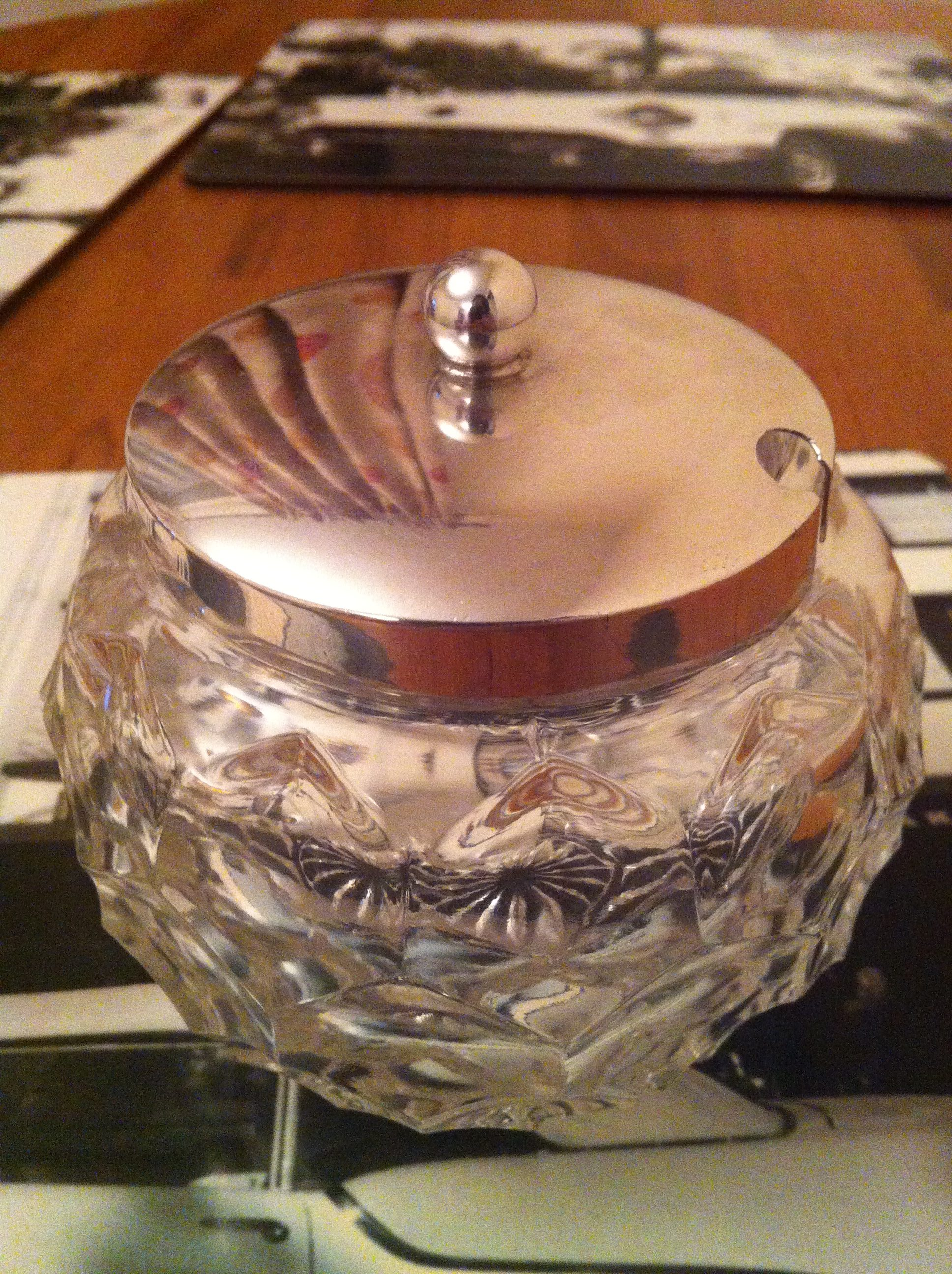 Silver jam jar glass Sheffield antique