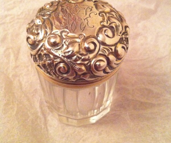 Antique gilded silver small glass pot