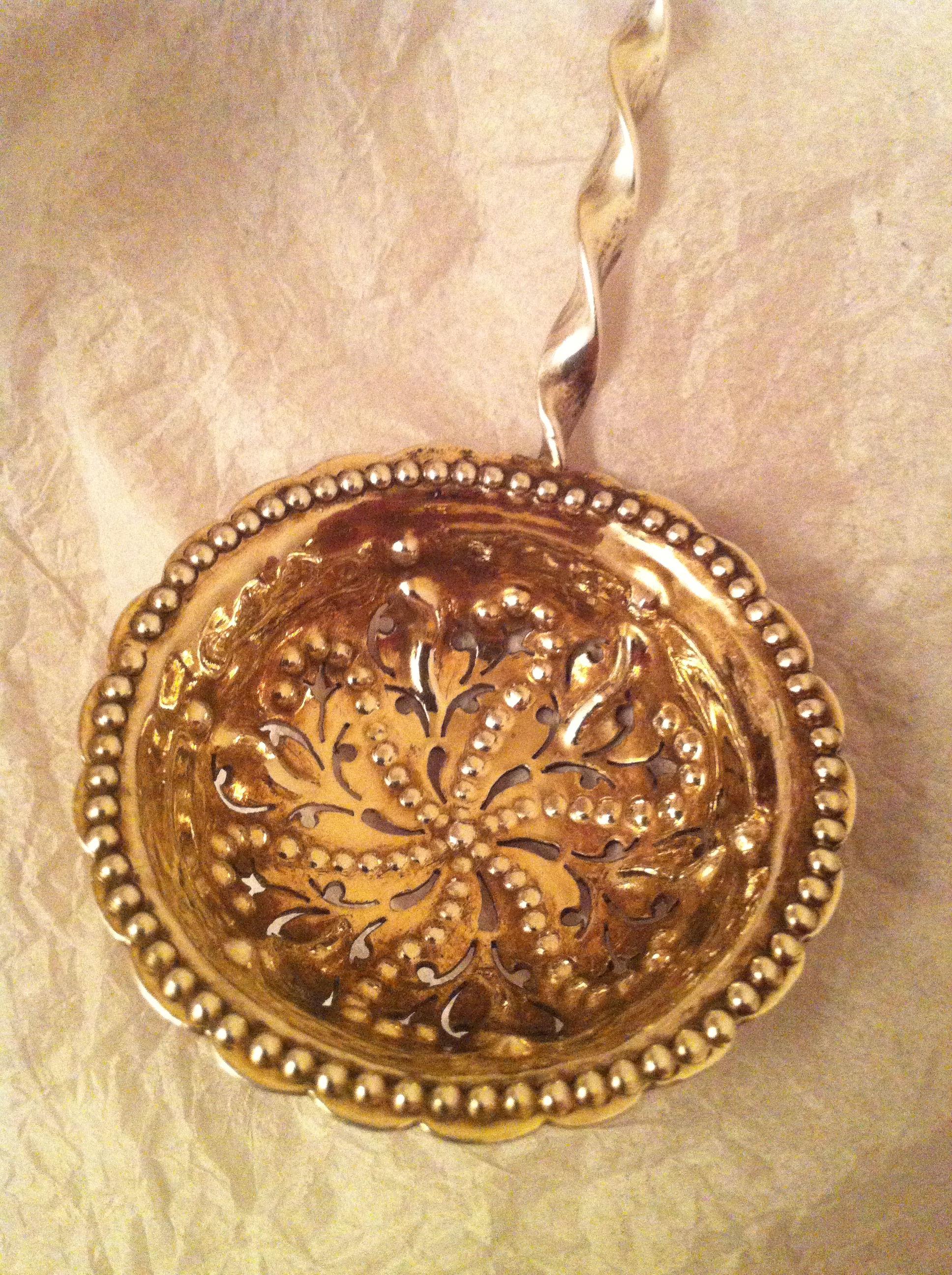 Antique silver gilded tea strainer GA
