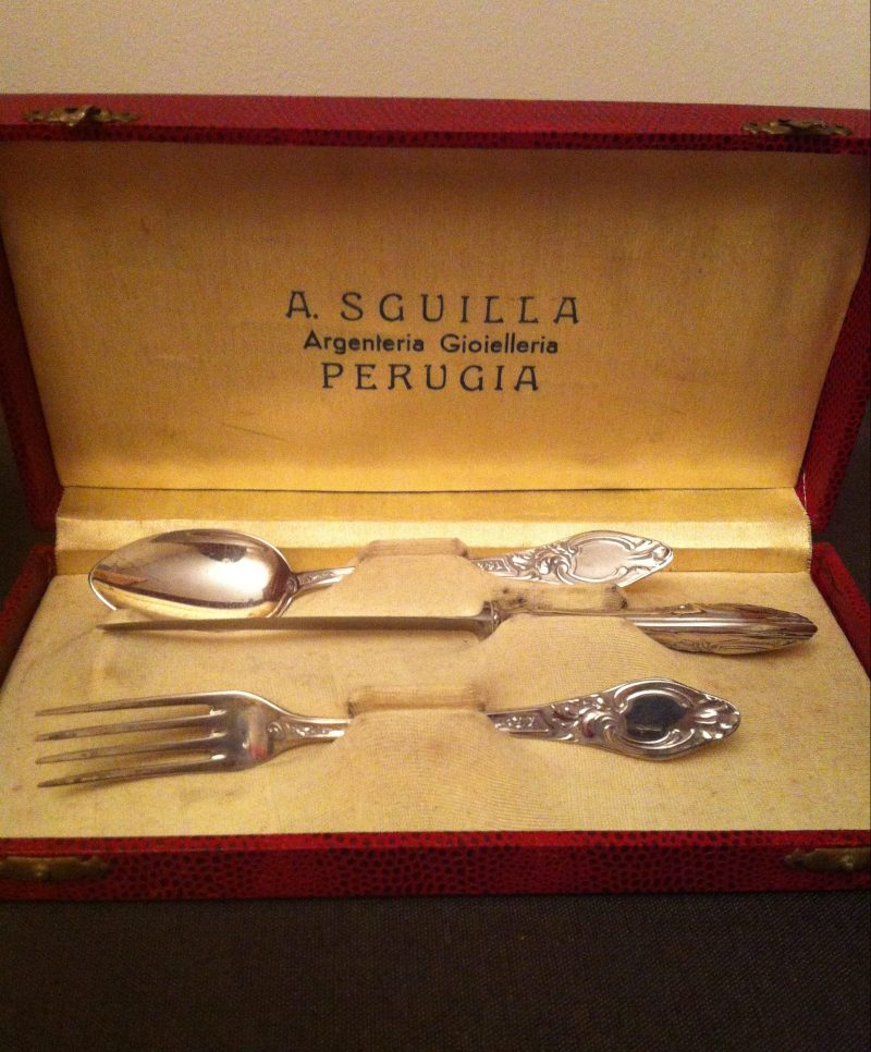 Italian silver cutlery set Perugia