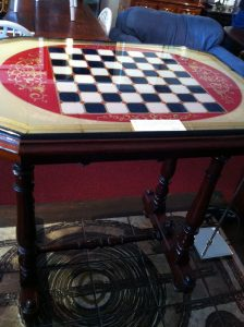 Mahogany Chess Table; my husband likes this.