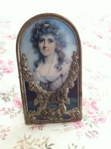 Small Victorian photo frame cupid lady in blue