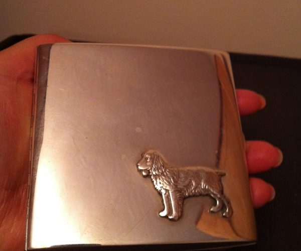 dog emboss silver cigarrete case