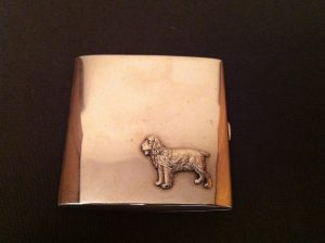 dog embossed cigarette case