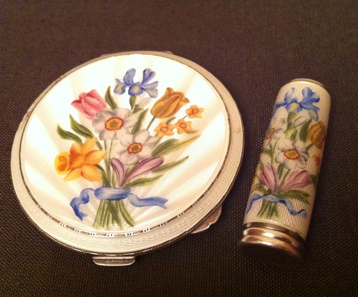 enamel silver compact and lipstick flower set