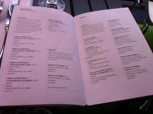 Gaucho Argentinian wine menu