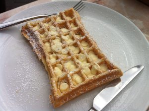 Waffle with white chocolate Kensington Creperie
