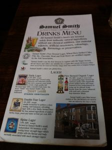 Drinks Menu at the Windsor Castle Pub