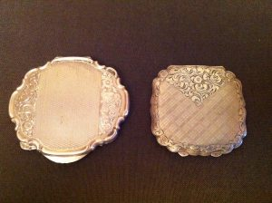 antique art deco silver compact