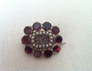 garnet pearl georgian brooch
