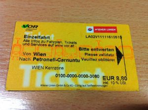 Ticket from Vienna to Petronell Carnuntum