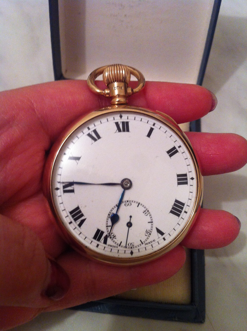 9K Solid Gold pocket watch record dennison