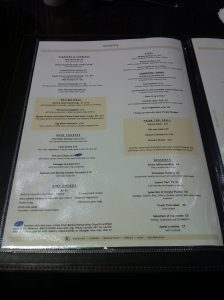 Hilton Islington Food Menu