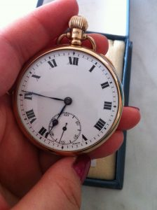 Record pocket watch 9ct gold