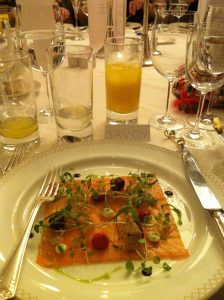 Smoked salmon at the Savoy