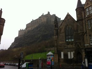 Edinburgh Castle at the left-end of the Royal Mile