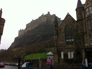 Edinburgh Castle at the left-end of the Royal Mile