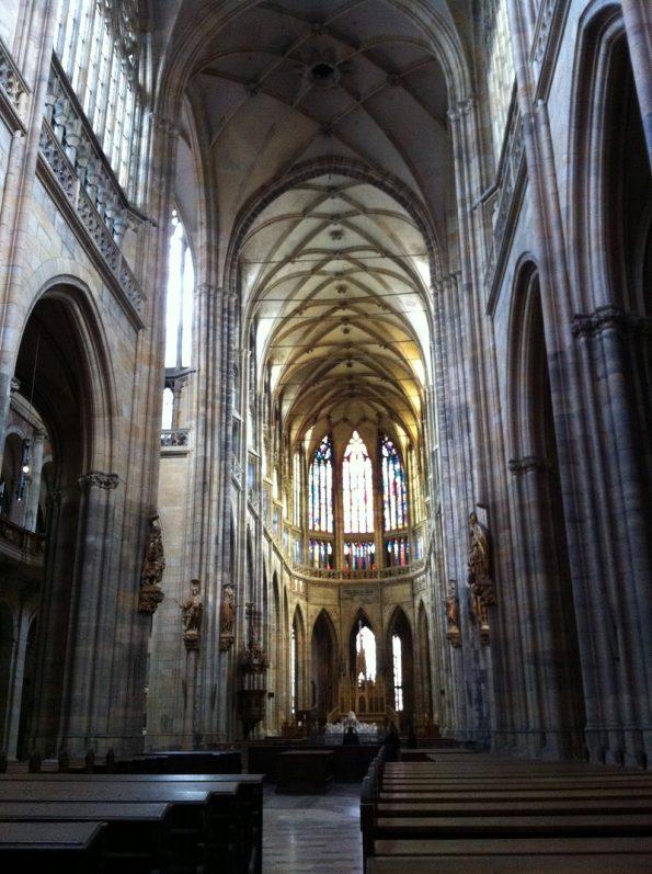 Inside St Vitus Cathedral in Prague