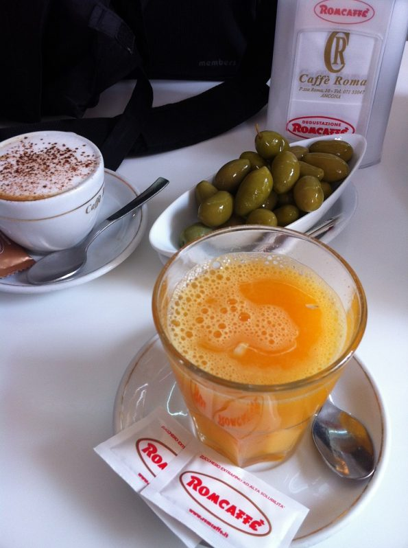 Olives and fresh squeezed orange juice