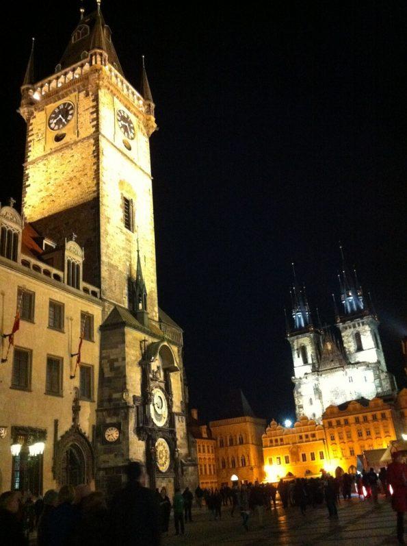 Prague astronomical clock at night
