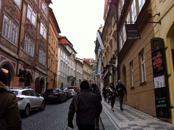 Prague uphill street to Cathedral