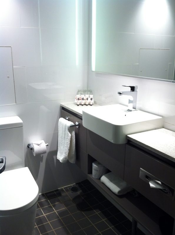 The shower room at Travelodge Hotel Wynyard