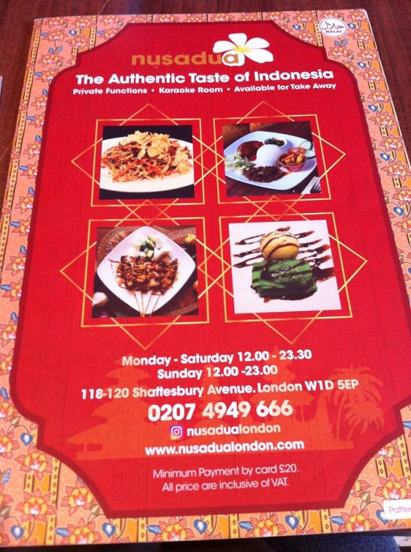 Nusa Dua Menu London