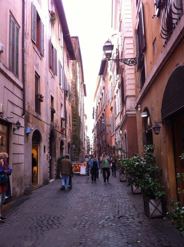 Typical Italian street with narrow alley