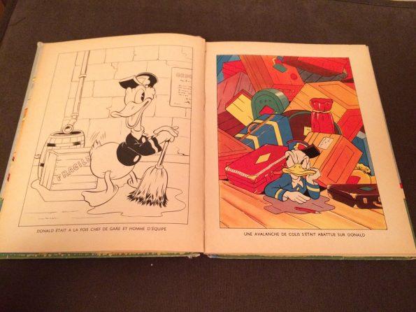 Colourful page antique book Donald et Hortense