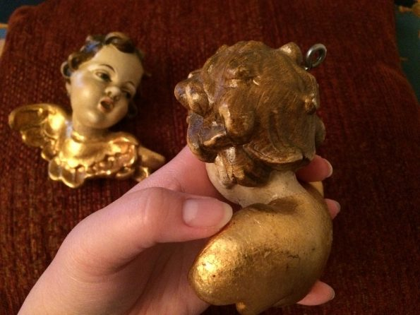 Antique cherubs gilded angels hand painted
