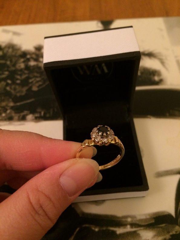 Birmingham Year 1967 Vintage Sappire 18k Ring