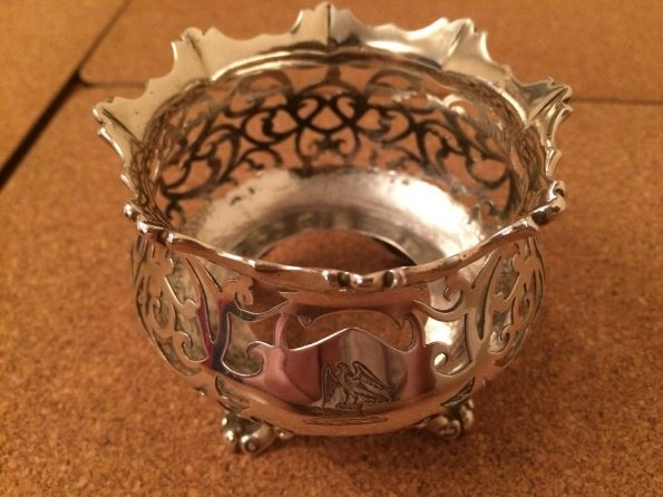 Victorian heavy silver pot holder