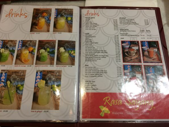 Drinks menu at Rasa Sayang