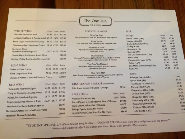The One Tun pub drinks menu