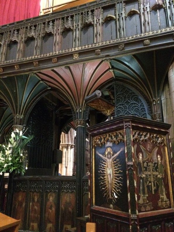 Beautiful old podium at Hexham Abbey