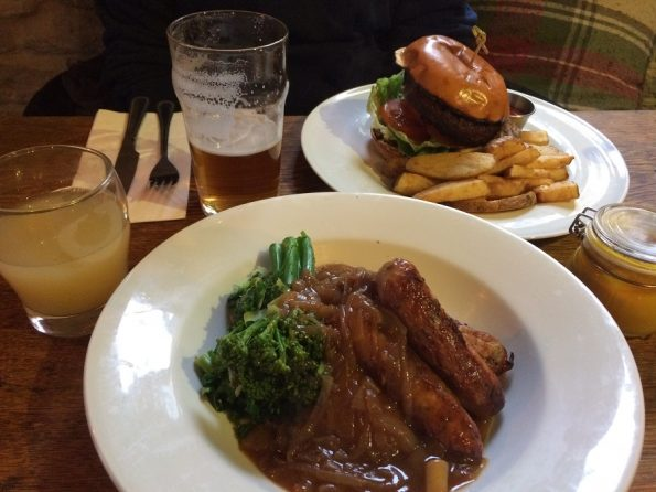 Northumberland sausages and mash and Beef burger