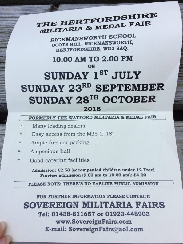 The Hertfordshire Militaria and Medal Fair Rickmansworth