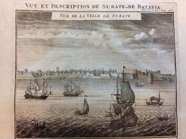 Antique Map of Henri Abraham Chatelain view of Surat India