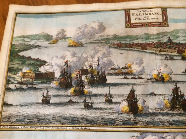 Antique map naval battle VOC ships attack Palembang Sumatra