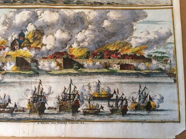 Pieter van der Aa - La Ville de Palimbang dans l 'ile de Sumatra - 1719
