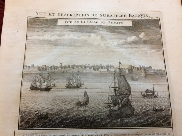 Antique map of Surat and Batavia by Henri Abraham Chatelain