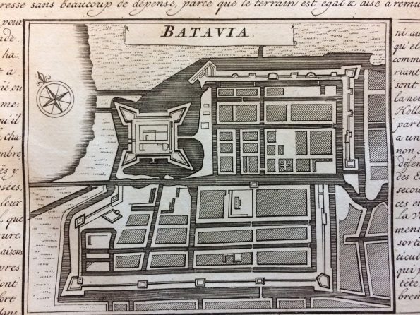 a bird's-eye city plan of Batavia (Jakarta) by Henry Abraham Chatelain