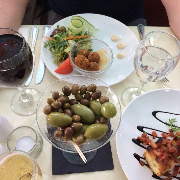 Olives arancini and bruschetta