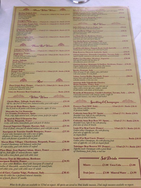 Salieri drinks menu
