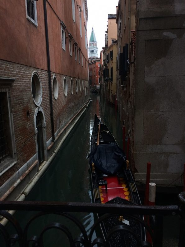 Small Canal with Gondola when it rains