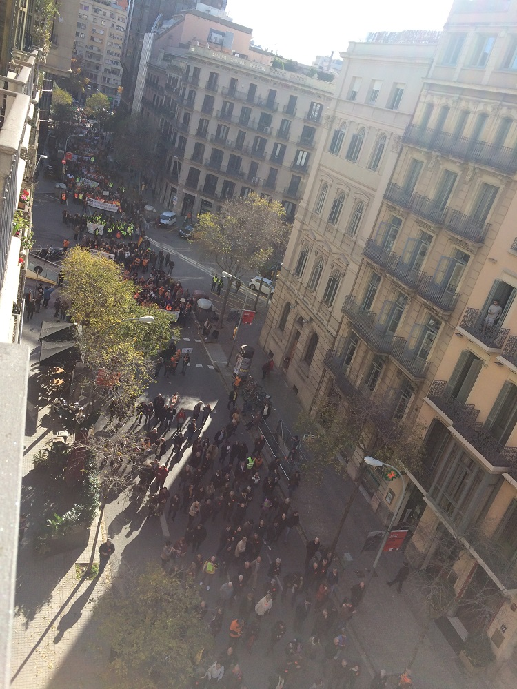Demonstration outside our hotel barcelona